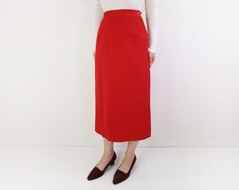 VINTAGE 1950s Red Skirt Pencil Long