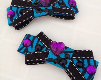 Blue Zebra Bling Bows
