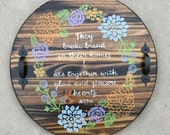 "18"" Round Handpainted Serving Tray- Acts 2:46"