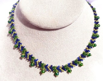 Beaded Green and Blue Woven Choker