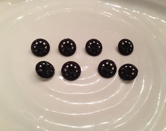 All the same button - 8 vintage black plastic shank buttons