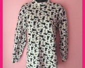 Vintage 1980s Witches and Spider Webs Blouse Size Medium