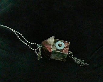 OOAK Birdhouse Necklace, Handmade, Multi-color, from Bluebird Creations, Item #2013