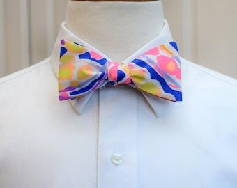 Men's Bow Tie, 2017 Lilly print, neon bright bow tie, Carolina Cup bow tie, Kentucky Derby bow tie, groom bow tie, wedding bow tie, self tie
