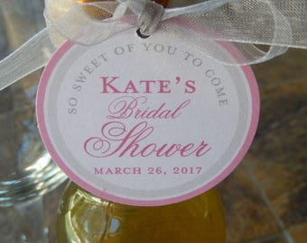 "50 Bridal or Baby Shower Thank You Custom 2"" Favor Tags - for Mini Wine or Champagne Bottles - Party Favors - so sweet of you to come"