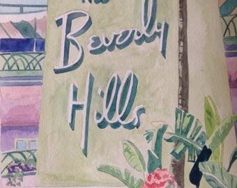 The Beverly Hills Hotel VI | Watercolor Painting | 11 x 14 Hollywood California | hotel banana trees art pink tropical art balcony