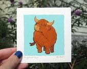 H is for Highland Cow; Tiny Gouache Alphabet Illustration
