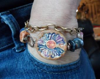 Blue Denim Flower Boho Bracelet Bird Charm Unique Rustic Bohemian Style Rustic Earthy Funky