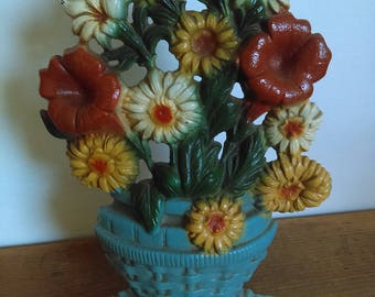 Vintage Basket of Flowers Cast Iron Doorstop