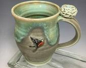 Birds Nest and Robin Handmade Porcelain Coffee Mug Matte Green
