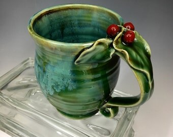 Holly Berry and Leaf Stoneware Pottery Coffee Mug Emerald Green