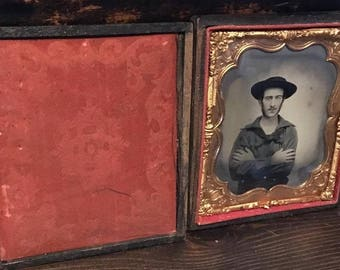 Rare 1860s 1/6 Ambrotype Photo Civil War Navy Naval Sailor with Knife in Belt