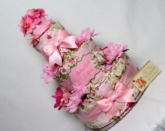 Baby Diaper Cake Tea Garden Party Shower Gift Centerpiece Shabby Chic