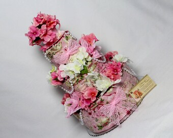 Baby Diaper Cake Tea Garden Party Shower Gift Centerpiece Elegant Pearls