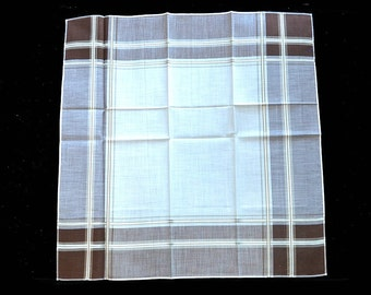 MAN'S HANDKERCHIEF Brown Tan Plain Excellent Quality Cotton Twill Overshot 16 x 16 Never Used Excellent Condition