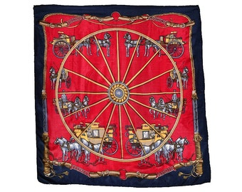 Equestrian Silk Scarf 27 in. sq. Carriages Horses Large Central Wheel Preppy Deep Red Navy Gold Light Wt. Silk, Label Excellent Condition