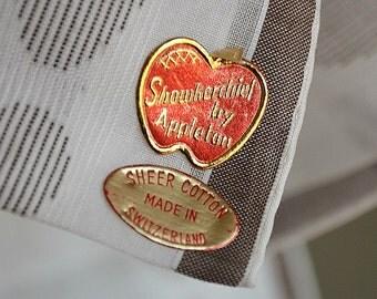 MAN'S HANDKERCHIEF Gorgeous Fine Cotton Modern Border Design Brown Overshot on Cream Showkerchief by Appleton Stickers Never Used 18 Inches
