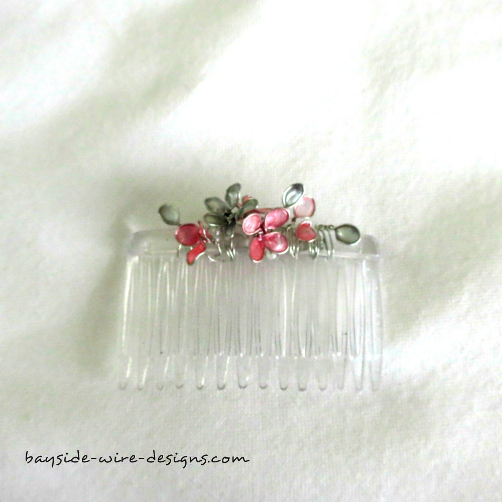 pink and silver hair piece handmade