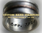 Custom Hand Stamping - Hand stamping on mens wedding bands - hand stamped rustic wedding band - hand stamped necklace - customized stamping