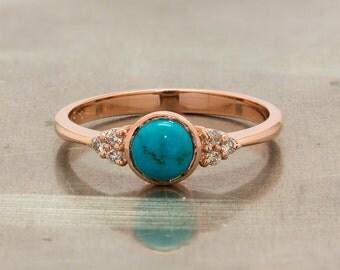 Turquoise Engagement Ring - Turquoise Diamond Ring - Gold Turquoise Ring - Turquoise Ring Gold - Rose Gold Turquoise