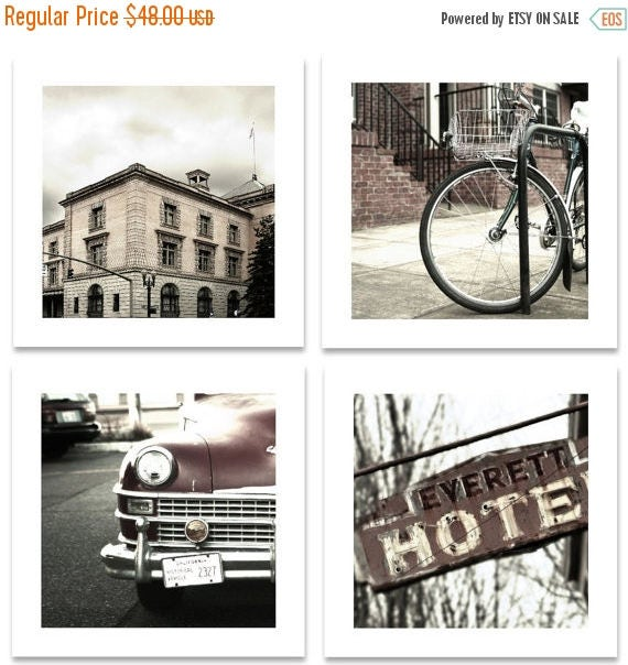 FLASH SALE til MIDNIGHT Pearl district  Maroons and Grey tones Portland Oregon Four 10 x 10 prints