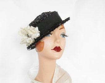 Vintage black hat, tilt bowler, white flowers, Miss Sally Victor