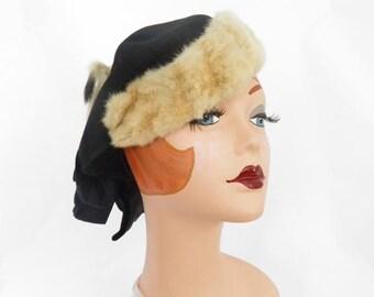 1930s 1940s hat, black tilt with fur trim, rabbit bunny fur accent