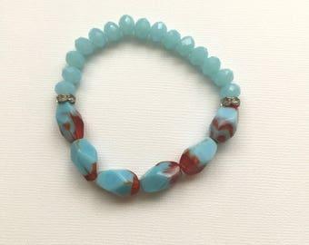 Aqua and Red Stretch Bracelet
