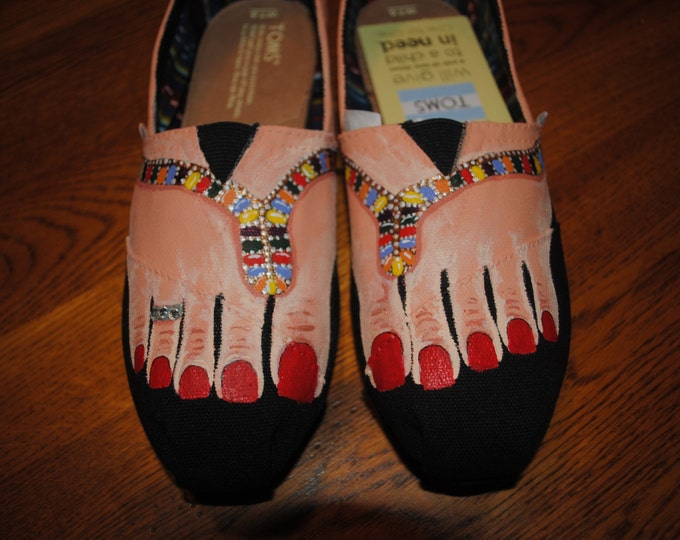 New Custom Hand Painted Bare feet design w/ new sandals size 7.5 toms - sorry SOLD