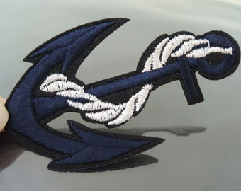 Anchor Patches - Iron on Patches Dark Blue Large Anchors Patch Round Applique Embroidered Patch Sew On Patch