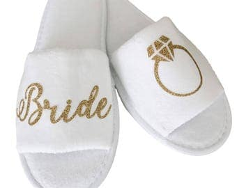 Bride Spa Slippers - Silver or Gold