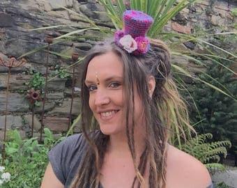 Mini Top Hat Fascinator, Festival Hat, Crochet Top Hat