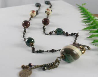 Greens, Browns, Ivory, Ceramic Bead and Chain Necklace