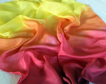 Fire Ombré Striped Playsilk Red Orange Yellow ~ Hand Dyed ~ Waldorf ~ Silk Scarf