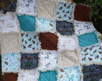 Baby Rag Crib Quilt - Modern and Natural Woodland Deer Forest Animals and Tribal Arrows in Navy Blue Teal Ivory and Brown Ready to Ship