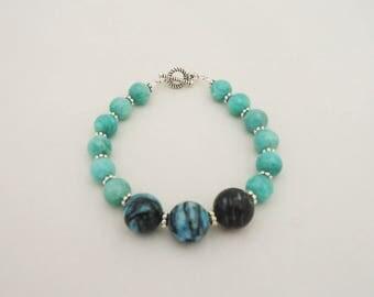 Amozonite and Chrysocolla Bracelet, Gemstone Bracelet, Blue Gemstone Bracelet