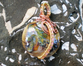 Handmade Lampwork Pendant Wire Wrapped in Gold and Copper