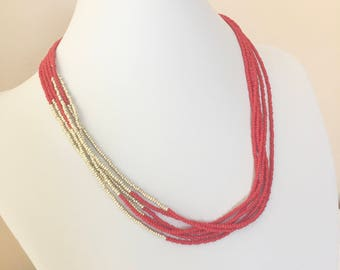Red & Gold Seed Bead Necklace, Red Seed Bead Necklace, Gold Seed Bead Necklace, Red Necklace w/off Centered Gold Section, Seed Bead Necklace