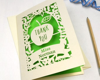 Personalised Papercut Thank You Teacher Apple Card, School cards, Laser Cut End Of Term Card, Thanks Teacher Gift