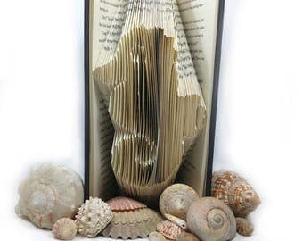 Seahorse Folded Book - Book Art Bookfolding Nautical Home Decor