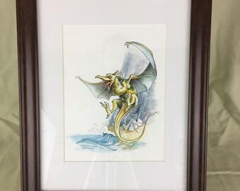 Fire Lizard Queen Original Watercolor