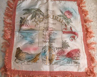 "Satin HONOLULU HAWAII Souvenir PILLOW Cover Diamond Head The Pali Moanalua Park Hibiscus Uke Girl Mother Poem, Pink Fringe 1950s 18"" sq"