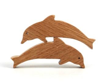 Wooden Dolphin Toys Waldorf  Miniature Noah's Ark Animal  Zoo Ocean Play Set Wood Porpoise Toy Nautical Decoration Oak