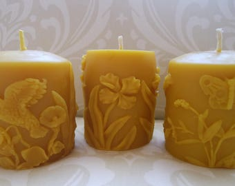 Handmade 100% Beeswax Candles - Springtime Pillar Gift Set