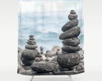 Shower Curtain, Balancing Rocks,  71x74 inches, 71x94 inches, Extra Long, Exceptional Quality
