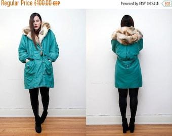 Vintage Real Fox Fur Hood Real Green Cape Parka Coat