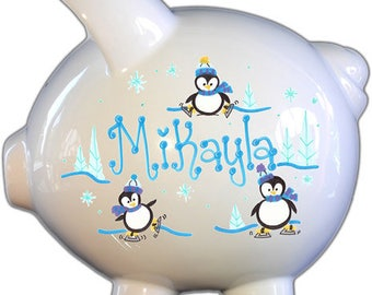 Personalized Piggy Bank with Penguins Design | White | Blue| Large | Baby Gift | Free Shipping