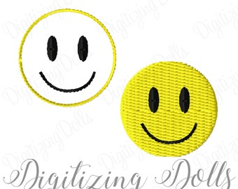 Mini Happy Smiley Face Solid Fill and Outline Machine Embroidery Designs 1x1 1.5x1.5 2x2 - Perfect for Hair Bows tiny small INSTANT DOWNLOAD