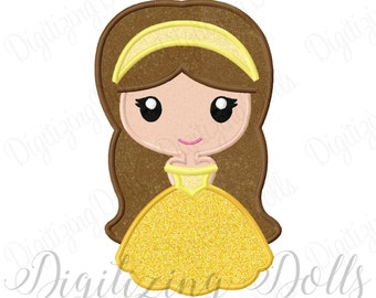 Princess Belle Applique Machine Embroidery Design Digital File 4x4 5x7 6x10 Beauty and the Beast INSTANT DOWNLOAD