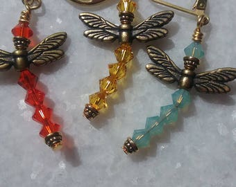 Real Cool Swarovski Crystal Dragonfly Earrings / Your Color Choice / Sparkly Earrings / Spring Earrings / Gift For Her / Gift For Mom /